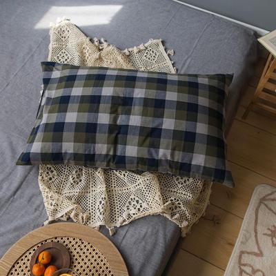 2020新款格子枕套 48cmX74cm/只 軍綠格子枕套