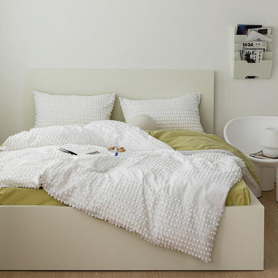 2021新款32S 密度80*70 纯棉四件套 1.5m床单款四件套 半毛球白-芥绿