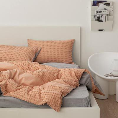 2021新款32S 密度80*70 纯棉四件套 1.5m床单款四件套 半毛球-浅橘黄