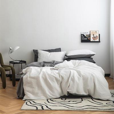 2021新款32S  95%棉系列四件套 1.5m床单款四件套 波浪泡泡-白配深灰