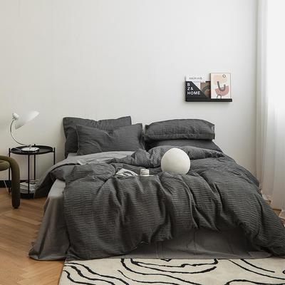 2021新款32S  95%棉系列四件套 1.5m床单款四件套 波浪泡泡-现代灰