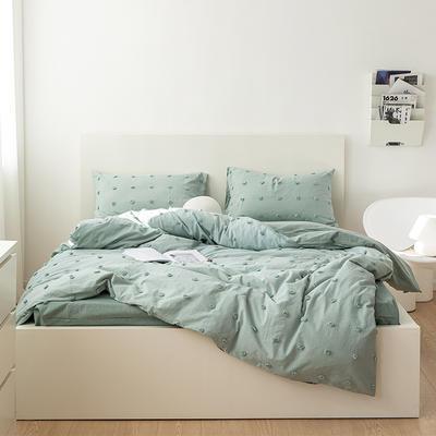 2021新款32S 密度80*70纯棉系列四件套 1.5m床单款四件套 复古水洗毛球-灰绿