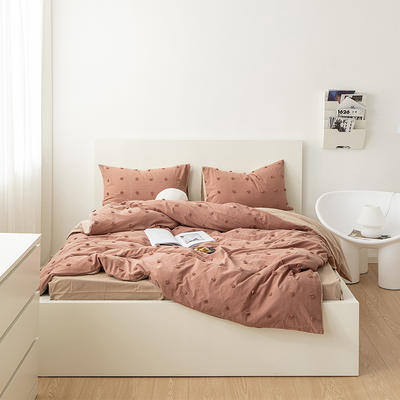 2021新款32S 密度80*70纯棉系列四件套 1.5m床单款四件套 复古水洗毛球-棕咖
