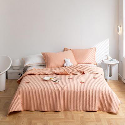 2021新款全棉清新风床盖套装 2.0*2.3m床盖+两只枕套 草莓床盖(浅粉
