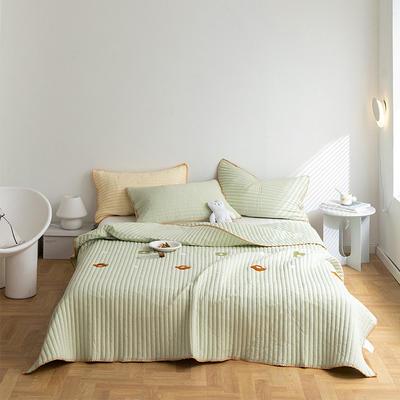 2021新款全棉清新风床盖套装 2.0*2.3m床盖+两只枕套 四叶草床盖(浅绿