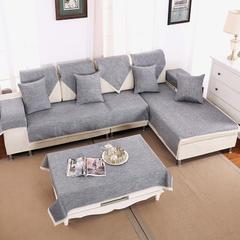 亚麻四季沙发垫2色-4款 45*45抱枕套 银灰-花边款