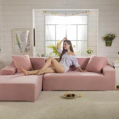 爆款-针织细条纹沙发套-带贵妃组合 45*45cm抱枕套 珊瑚粉