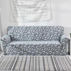 2018新款-色织9色防水沙发套-终板 190*230cm(L码) 羽毛-蓝灰40*40cm抱枕套隐藏式拉链