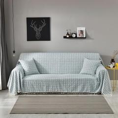 2018新款-棉麻格子沙发巾4色 45*45cm抱枕套 蓝灰小格 (1)