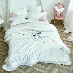 美丽家居 小清新长绒棉套件 2.0-2.2m床 夏琳白色