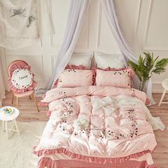 美丽家居 小清新长绒棉套件 2.0-2.2m床 草莓粉色