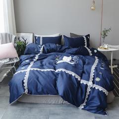 美丽家居 小清新长绒棉套件 1.5-1.8m床 蓝兔子