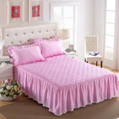 梦丽斯天扬    13372纯色夹棉床裙床笠款五件套(夹棉床裙) 1.2*2.0+45cm 粉色