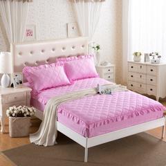 梦丽斯天扬    13372纯色夹棉床裙床笠款五件套(带飞边夹棉床笠) 1.5*2.0+25cm 粉色