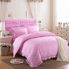 梦丽斯天扬    13372纯色夹棉床裙床笠款五件套(夹棉床头罩被套枕套) 1.6*2.1m夹棉被套 粉色