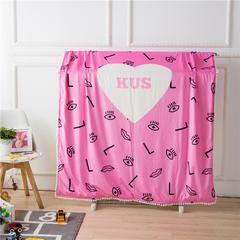 伊涞温ELEVEN 针织棉+宝宝绒毯被套 儿童卡通毛毯加厚宝宝绒花边毯 150cmX200cm 眼睛毯