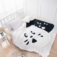 伊涞温ELEVEN 羊羔绒+宝宝绒毛毯 秋冬儿童小毯子 加厚毛毯 150cmX200cm 黑白猫
