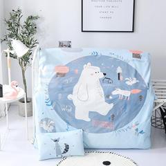2018新款-婴幼儿数码印花水晶绒宝宝绒幼儿园被子三件套 1.2m(4英尺)床 狐狸大熊熊