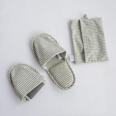 良品旅行便携拖鞋 女款36~38均码 麻灰色x白色