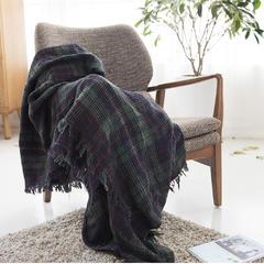良品专柜同步棉华夫格毯 140cmx180cm 绿色格纹