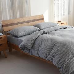 棉天竺BROS百隆色纺针织套件 1.2米床笠款 MB002混麻灰细条纹