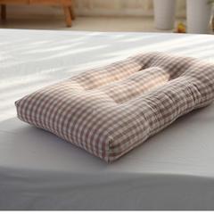 日式水洗棉可洗保健枕 粉色格纹