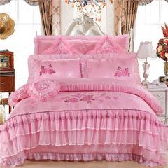 蕾丝婚庆系列四件套 标准床单款 一心一意  粉红