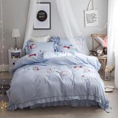 60S长绒棉多件套 露娜-婴儿蓝 标准(1.5m-1.8m床) 露娜-婴儿蓝