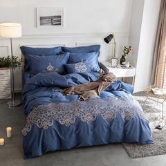 60S长绒棉多件套 米兰达-午夜蓝 标准(1.5m-1.8m床) 米兰达-午夜蓝