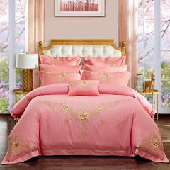 婚庆刺绣多件套 爱在花开-粉玉 标准(1.5m-1.8m床) 四件套(床单式)