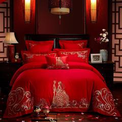 全棉刺绣婚庆多件套  甜蜜邀约 标准(1.5m-1.8m床) 四件套(床单式)