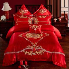 60贡缎提花婚庆多件套  相爱百年 标准(1.5m-1.8m床) 四件套(床单式)