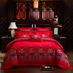 全棉刺绣婚庆多件套  赛纳舞曲 标准(1.5m-1.8m床) 四件套(床单式)