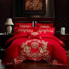 刺绣婚庆多件套  喜事成双 标准(1.5m-1.8m床) 四件套(床单式)