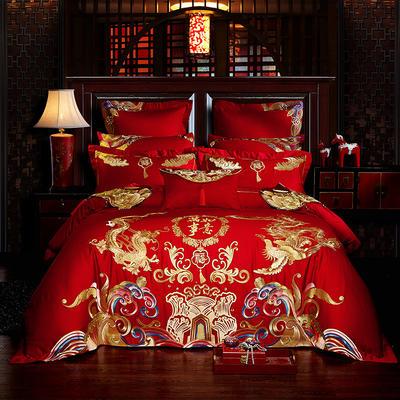 2019新款60S长绒棉刺绣婚庆四件套系列-万事如意(影棚图) 1.8m(6英尺)床 四件套(床单式)