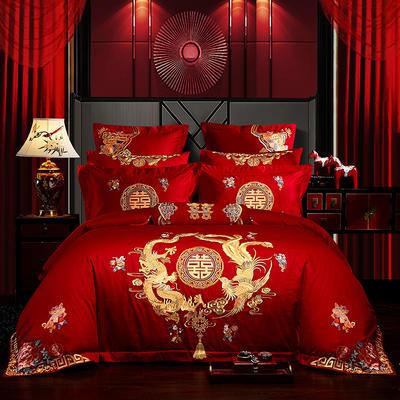 2019新款40s全棉13372刺繡婚慶套裝系列-歡天喜地 1.5m-1.8m床單款 四件套(床單式)