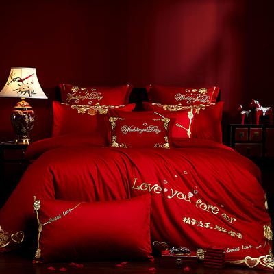 2019新款40s全棉13372刺繡婚慶套裝系列-真愛 1.8m(6英尺)床單款 四件套(床單式)