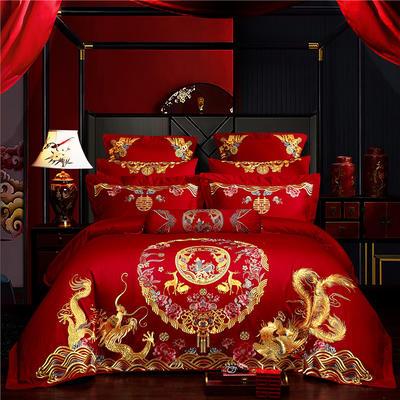 2019新款60S長絨棉刺繡婚慶四件套系列-天賜洪福 1.8m(6英尺)床單款 四件套(床單式)