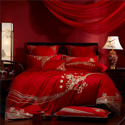 2020新款40s全棉13372刺绣婚庆套装系列-爱意永恒 1.5m(5英尺)床 四件套(床单式)