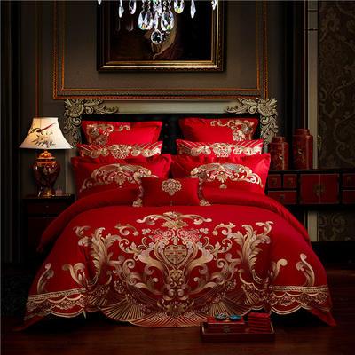 2020新款40s全棉13372刺绣婚庆套装系列-巴黎恋人 1.5m(5英尺)床 四件套(床单式)