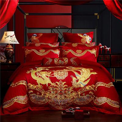 2020新款60S长绒棉刺绣婚庆四件套系列-良辰美景 1.5m(5英尺)床 四件套(床单式)