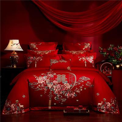 2020新款40s全棉13372刺绣婚庆套装系列-诗情画意 1.5m(5英尺)床 四件套(床单式)