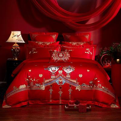 2020新款40s全棉13372刺绣婚庆套装系列-永结同心 1.5m(5英尺)床 四件套(床单式)
