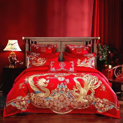2020新款60S长绒棉刺绣婚庆四件套系列-龙腾盛世 1.8m床单款 四件套(床单式)