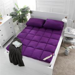 红福鸟家纺加厚斜纹素色水洗棉立体羽丝床垫 120*200cm 紫色