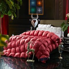 羽绒被系列-扭花立体边面包被 柔赛斯 220*240填充95%鸭绒 酒红色