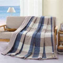 寝香居    色织水洗棉夏被 180x210cm 蓝咖大格