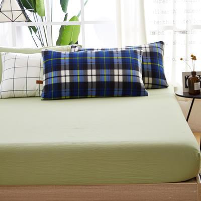 水洗棉魔法绒床笠 150X200 格子-嫩绿