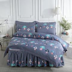 2018新款-乳胶床裙四件套 1.5m(5英尺)床 幻彩蘑菇