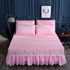 2018新款乳胶暖绒床裙三件套 120*200cm 乳胶暖绒粉色